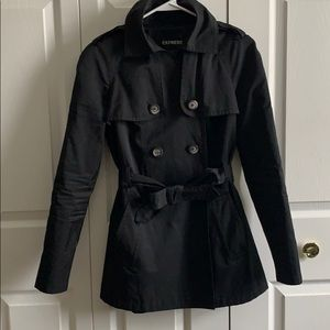 Express Black Trench Raincoat